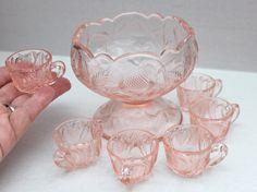 vintage children's punch bowl set // six cups // pink blush tea party.