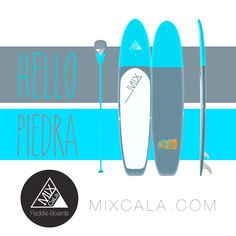 """[ HELLO PIEDRA ] Happy Friday! How about cool Gray & Blue. MixCaLa Piedra is painted in a slate gray, pale blue duotone and finished with a glass-like varnish. Only weight 29 lbs. We use 100% real bamboo so one can enjoy the flexibility while surfing without sacrificing the durability. Check out more color combination & matching Paddles.  Mix Your Own """"CaLa"""" only at MIXCALA.COM #Gray #Blue #Turquoise #Colorful #Design #Stylish #Fashion #trending #Cool #SUP #Color #Colorblock #Fitness #Yoga…"""