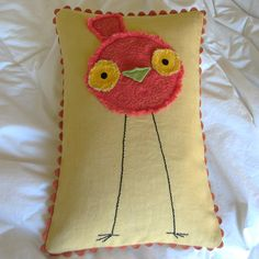 Items similar to Yellow and Red Embroidered Bird Pillow of Linen on Etsy. , via Etsy.