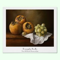 Classic Still Life with Persimmons and Grape paint Poster by TheGreatestTattooArt