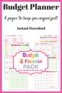 I love this planner pack!  8 pages of brightly colored organization to help you track your spending, saving, debt and bills! #ad #planner #plannerlove #planneraddict #budget #budgeting