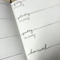 so ive decided to start bullet journaling - I think I quite like this layout for next week <— Nice one Bullet Journal Jour, Planner Bullet Journal, Bullet Journal Spread, My Journal, Journal Notebook, Journal Pages, Bullet Journal Cursive, Bullet Journal Homework, Bullet Journal How To Start A Simple
