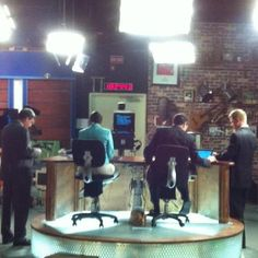 Behind the desk during the 10pm news.