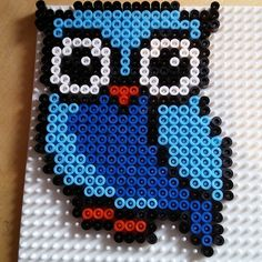 Owl hama beads by anna_maria_angelica Perler Bead Templates, Diy Perler Beads, Perler Bead Art, Pearler Beads, Fuse Beads, Owl Crochet Patterns, Fuse Bead Patterns, Perler Patterns, Beading Patterns