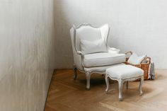 Regent Lounge Chair and Ottoman   The Regent Collection from Ave Home features beautiful Louis XV style cabriole legs and feminine curves. Each piece is hand finished to exhibit texture and patina. Soft whites, french greys, and gilded accents make these pieces neutral and timeless.