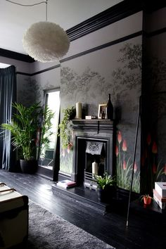 little greene wallpaper - dark grey, black paintwork and coral highlights