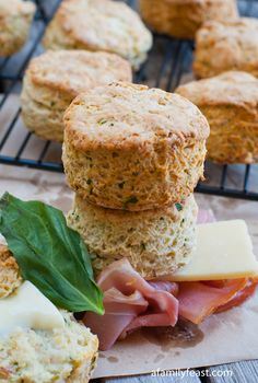 Prosciutto and Cheese Biscuits - Delicious, moist savory biscuits with cheddar cheese, prosciutto and basil.  These make great breakfast sandwiches too!
