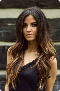black to brown ombre color wavy style for long hair