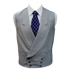Dove Grey Double Breasted Morning Suit Waistcoat by Torre | waist