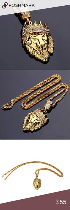 "Men ""Kofi"" 18K REAL Gold Plated King Lion Necklace NEW Mens ""Kofi"" 18K REAL Gold Plated King Lion Necklace  Details: 1.12"" x 1.73"" Pendant 18k Gold Plating Over 316L Stainless Steel (Will never Tarnish, Fade, or Rust) 24"" Rope Chain Trendy and Modern Design Rope Chain that Perfectly Fits with the Pendant  Moda Boutique SF Moda Black Label @ModaByBoutique Moda Black Label Accessories Jewelry"