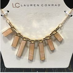 Statement Necklace LC Lauren Conrad Statement necklace. Gorgeous peach faux marble and gold tone. 151/2 inches with 3 inch extender. Pair this with any outfit for a great look!  Removed from card to photograph and measure LC Lauren Conrad Jewelry Necklaces