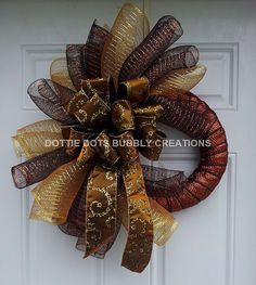 Brown & Gold Leopard spiral Mesh Wreath by dottiedot05 on Etsy, $45.00