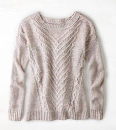 Pink AEO Soft Cable Sweater