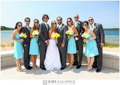 Bright & summery bridal party in fun yellow & Malibu blue.
