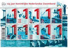 Op het postzegelvel 125 jaar Koninklijke Nederlandse Zwembond staan afbeeldingen van mensen die voor hun plezier of als sporter zwemmen.  http://collectclub.postnl.nl/pages/detail/s1/10220000001926-2-21010000000080.aspx