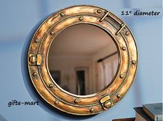 "vintage style antiqued gold Nautical ship 11"" PORTHOLE boat object bathroom entry Wall MIRROR from gifte-mart"
