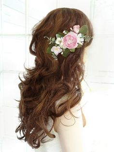 bridal hair comb pink flower hair clip wedding by thehoneycomb