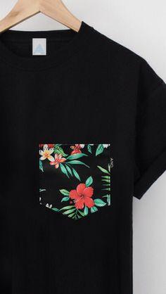 Tropical Pocket T Shirt Graphic Shirts, Printed Shirts, Cool T Shirts, Tee Shirts, T Shirt Painting, Diy Shirt, Mens Clothing Styles, Diy Clothes, Shirt Style