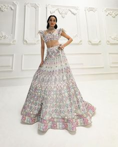 Manish Malhotra, Get The Look, Lehenga, Indian Fashion, Desi, Tulle, Pastel, Two Piece Skirt Set, Photo And Video