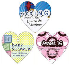 Personalized Heart Shape Thank You Tags & Stickers - Set of 20