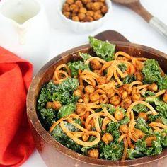 Vegan Kale and Sweet Potato Noodle Caesar Salad with Crispy Spiced Chickpeas Recipe
