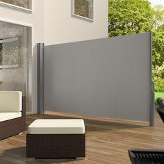 Uitschuifbaar aluminium windscherm tuinscherm 160 x 300 cm grijs 401524