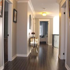 That grey paint with dark wood floors has me in love! Need this color for kitchen, living room with the dark wood floors. House Design, Revere Pewter, House, Home, Perfect Grey Paint, Home Remodeling, Grey Walls, House Styles, New Homes