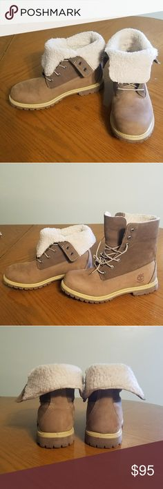 Women's Timberland Authentics Waterproof Boots Women's Timberland Authentics Waterproof fold-down boots. Worn a few times. In really good shape. Only a few very minor blemishes that aren't noticeable unless your looking closely; shown in pictures. Color is taupe. Timberland Shoes