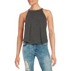 Free People Ribbed Knit Tank ($13) ❤ liked on Polyvore featuring tops, black, rib knit tank tops, ribbed tank, sleeveless tank tops, free people and free people tank