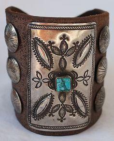 Vintage-Navajo-Indian-Turquoise-Tooled-Silver-Ketoh-Bow-Guard-Bracelet