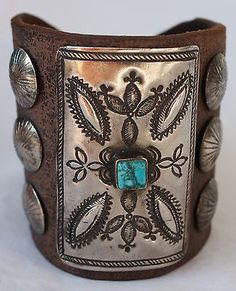 Vintage Navajo Indian Turquoise Tooled Silver Ketoh Bow Guard Bracelet - http://jewelry.goshoppins.com/ethnic-regional-tribal/vintage-navajo-indian-turquoise-tooled-silver-ketoh-bow-guard-bracelet/