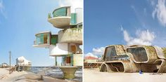 """Spanish designer Dionisio Gonzales creates surreal forts meant to endure natural disasters such as hurricanes. These fictional structures made of iron and concrete are hybrids of beach houses, bunkers and space ships, and are part of the artist's latest series of designs entitled """"Dauphin Island"""