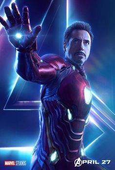 Likely due to it being Robert Downey Jr.'s birthday today, Marvel Studios has just released a character poster for Iron Man in Avengers: Infinity War. Marvel Avengers, Iron Man Avengers, Captain Marvel, Marvel Comics, Films Marvel, Avengers 2012, Marvel Heroes, Captain America, Avengers Poster