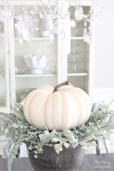 Harvest Haven Fall Tour 2016 - SheLeavesALittleSparkle At Michael's you can find faux lambs ear and beautiful faux white pumpkins.