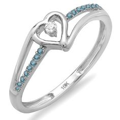 0.10 Carat (ctw) 10k White Gold Round Blue and White Diamond Bridal Promise Heart Split Shank Ring 1/10 CT >>> Trust me, this is great! Click the image. : Promise Rings Jewelry