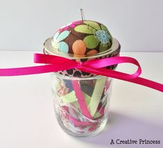 Pin cushion with gift card in the jar