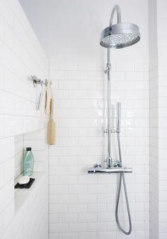 White tile shower and nooks Diy Bathroom Decor, Bathroom Renos, Laundry In Bathroom, Bathroom Renovations, Bathroom Interior, Bathroom Inspo, Bathroom Ideas, White Tile Shower, Small Space Bathroom
