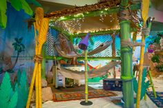 Main stage detail ideas for Shipwrecked VBS! Explore more decoration ideas at Concordia Supply!