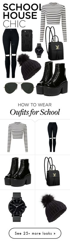 """School House Chic"" by iconicallychill on Polyvore featuring Miss Selfridge, Louis Vuitton, Ray-Ban and Casetify"