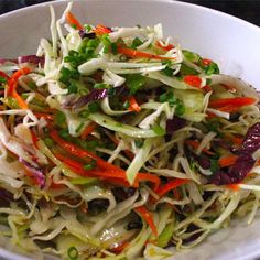 """Vinegar Based Coleslaw - A previous pinner said, """"next time, I will use less oil for the vinaigrette."""" Was thinking of adding the fozen mixed seafood we buy from Valli Produce to a slaw Vinegar Based Coleslaw Recipe, Vinegar Coleslaw, Coleslaw Recipe For Pulled Pork No Mayo, Cole Slaw Vinegar Based, Coleslaw Dressing, Vegetarian Recipes, Cooking Recipes, Healthy Recipes, Gastronomia"""