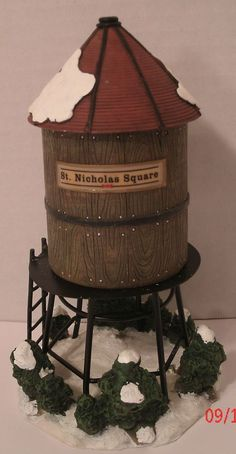 St Nicholas Square Village Water Tower Christmas Holiday Decoration Train w/ Box