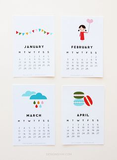 12 Cute, Free Printable Calendars for 2014- oh my gosh super cute selection! :)