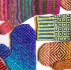 Colorful mittens knitting pattern by Ruth Sorensen