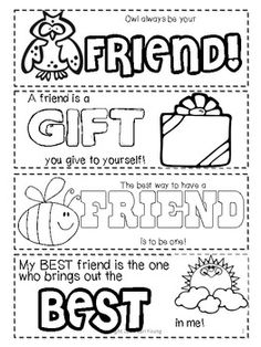 Friendship Printable Bookmarks to Color @ TPT from Cari Young's librarycenters.blogspot.com