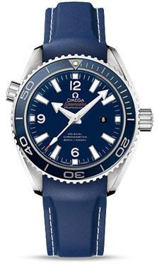 Omega Seamaster Planet Ocean Watch. 37.5 mm titanium Liquidmetal case with helium escape valve, transparent back, screw-in crown, unidirectional rotating bezel with blue ceramic, domed scratch-resista