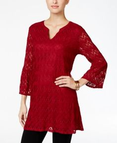 Style & Co. Split-Neck Lace Tunic, Only at Macy's | macys.com
