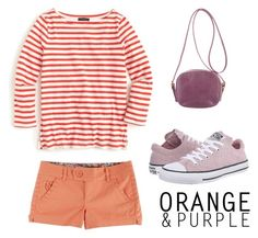"""Orange and Purple"" by ella178 ❤ liked on Polyvore featuring J.Crew, Converse and The Row"