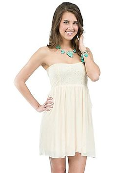 Freebird Ladies Cream with Lace Upper Strapless Dress, trying to find an outfit for Miranda Lambert!