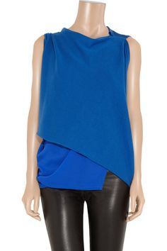 Layered fine-knit cotton and georgette top by Junya Watanabe