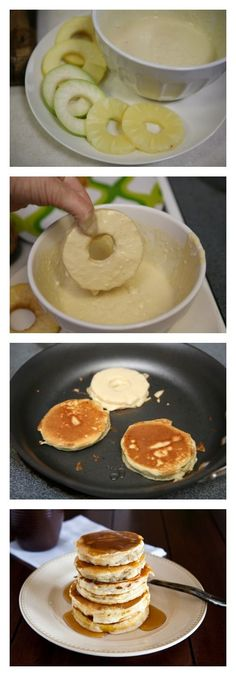 Bisquick Fruit Ring Pancakes. Can't wait to try this with apples and a little bit f cinnamon.